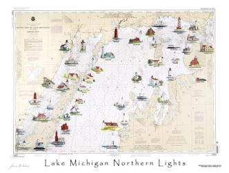 Buy map Lake Michigan, Northern Lights by Avery Color Studios from United States Maps Store