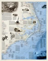 Buy map Shipwrecks of the Outer Banks, laminated by National Geographic Maps from North Carolina Maps Store