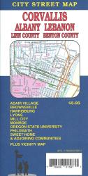 Buy map Corvallis, Albany, Lebanon and Sweet Home, Oregon by GM Johnson from Oregon Maps Store