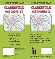Buy map Clarksville and Montgomery County, Tennessee by GM Johnson from Tennessee Maps Store