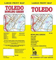 Buy map Toledo and Bowling Green, Ohio, large print by GM Johnson from Ohio Maps Store