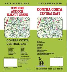 Buy map Contra Costa, Central and East, California by GM Johnson from California Maps Store