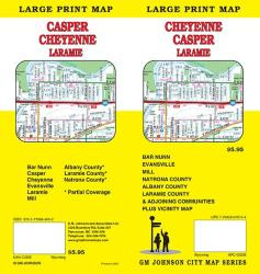 Buy map Cheyenne, Casper, and Laramie, Wyoming, Large Print Map by GM Johnson from Wyoming Maps Store