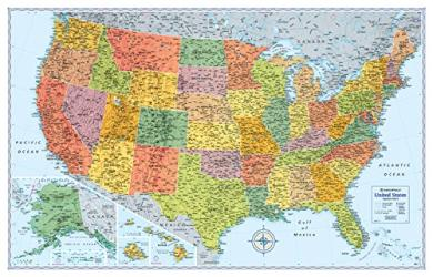 Buy map United States, Signature Series Paper Laminated Map, Blue by Rand McNally from United States Maps Store
