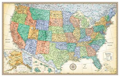 Buy map United States, Classic Series Rolled Laminated Map, Beige by Rand McNally from United States Maps Store