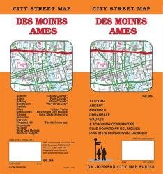 Buy map Des Moines and Ames, Iowa by GM Johnson in Iowa Map Store