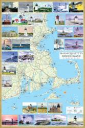 Buy map Massachusetts and Rhode Island Lighthouses Map - Laminated Poster by Bella Terra Publishing by Bella Terra Publishing LLC