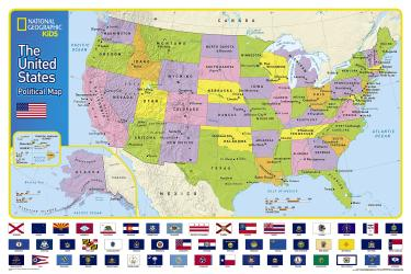 Buy map The United States for Kids, Laminated, National Geographic Reference Map by National Geographic Maps from United States Maps Store