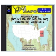 YellowMaps U.S. Topo Maps Volume 40 (Zone 18-2) Atlantic Coast (NY, NJ, PA, DE, MD, VA, NC) from New Jersey Maps Store