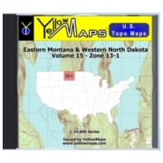 YellowMaps U.S. Topo Maps Volume 15 (Zone 13-1) Eastern Montana & Western North Dakota from North Dakota Maps Store