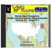YellowMaps U.S. Topo Maps Volume 41 (Zone 19-1) Maine, New Hampshire, Rhode Island & Eastern Massachusetts from Massachusetts Maps Store