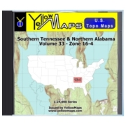 YellowMaps U.S. Topo Maps Volume 33 (Zone 16-4) Southern Tennessee & Northern Alabama from Mississippi Maps Store