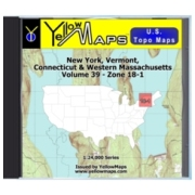 YellowMaps U.S. Topo Maps Volume 39 (Zone 18-1) New York, Vermont, Connecticut & Western Massachusetts from Massachusetts Maps Store