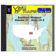 YellowMaps U.S. Topo Maps Volume 27 (Zone 15-3) Southern Missouri from Missouri Maps Store