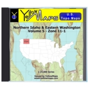 YellowMaps U.S. Topo Maps Volume 5 (Zone 11-1) Northern Idaho & Eastern Washington from Idaho Maps Store