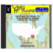 YellowMaps U.S. Topo Maps Volume 34 (Zone 16-5) Gulf Coast (LA, MS, AL, FL) & Southwestern Georgia from Alabama Maps Store