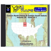 YellowMaps U.S. Topo Maps Volume 20 (Zone 14-1) Eastern North Dakota & Eastern South Dakota from Minnesota Maps Store