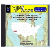 YellowMaps U.S. Topo Maps Volume 8 (Zone 11-4) Southern Sierra Nevada, California & Southern Nevada from Nevada Maps Store