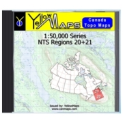 YellowMaps Canada Topo Maps: NTS Regions 20+21 from Atlantic Provinces: NB, NS, PE Maps Store