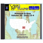 YellowMaps U.S. Topo Maps Volume 28 (Zone 15-4) Arkansas & Area from Louisiana Maps Store
