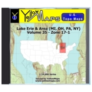 YellowMaps U.S. Topo Maps Volume 35 (Zone 17-1) Lake Erie & Area (MI, OH, PA, NY) from West Virginia Maps Store