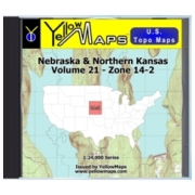 YellowMaps U.S. Topo Maps Volume 21 (Zone 14-2) Nebraska & Northern Kansas from Kansas Maps Store
