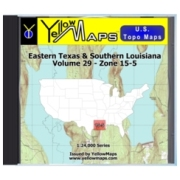 YellowMaps U.S. Topo Maps Volume 29 (Zone 15-5) Eastern Texas & Southern Louisiana from Mississippi Maps Store
