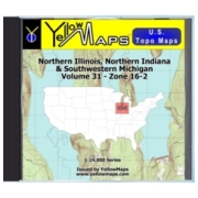 YellowMaps U.S. Topo Maps Volume 31 (Zone 16-2) Northern Illinois, Northern Indiana & Southwestern Michigan from Indiana Maps Store