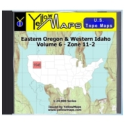 YellowMaps U.S. Topo Maps Volume 6 (Zone 11-2) Eastern Oregon & Western Idaho from Nevada Maps Store