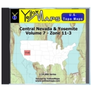 YellowMaps U.S. Topo Maps Volume 7 (Zone 11-3) Central Nevada & Yosemite from Nevada Maps Store