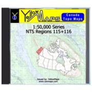YellowMaps Canada Topo Maps: NTS Regions 115+116 from Yukon Maps Store