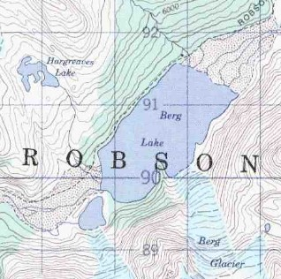 topo map of Berg Lake - Mt Robson
