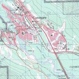 topo map of Canmore