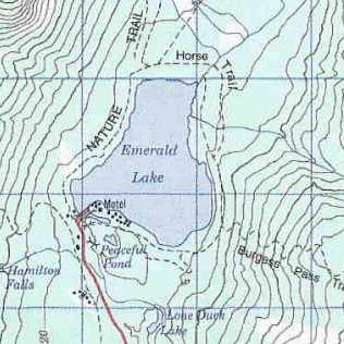 topo map of Emerald Lake - Yoho Valley