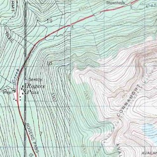 topo map of Rogers Pass - Glacier NP
