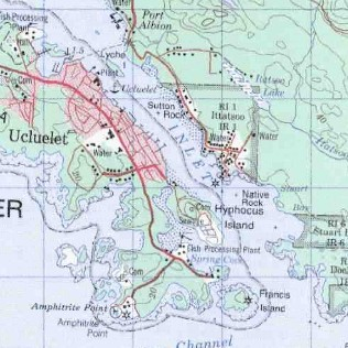 topo map of Long Beach - Ucluelet