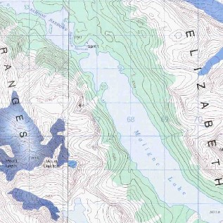 topo map of Maligne Lake