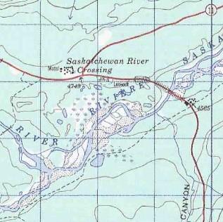 topo map of Saskatchewan River Crossing