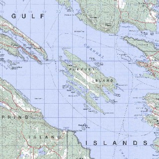topo map of Southern Gulf Islands