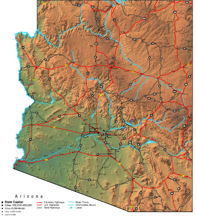 Arizona Map  Online Maps Of Arizona State