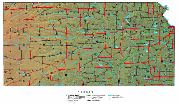 State Road Map of Kansas