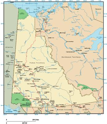 Yukon Map   online maps of Yukon Territory