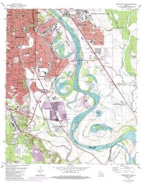 Shreveport East topo map