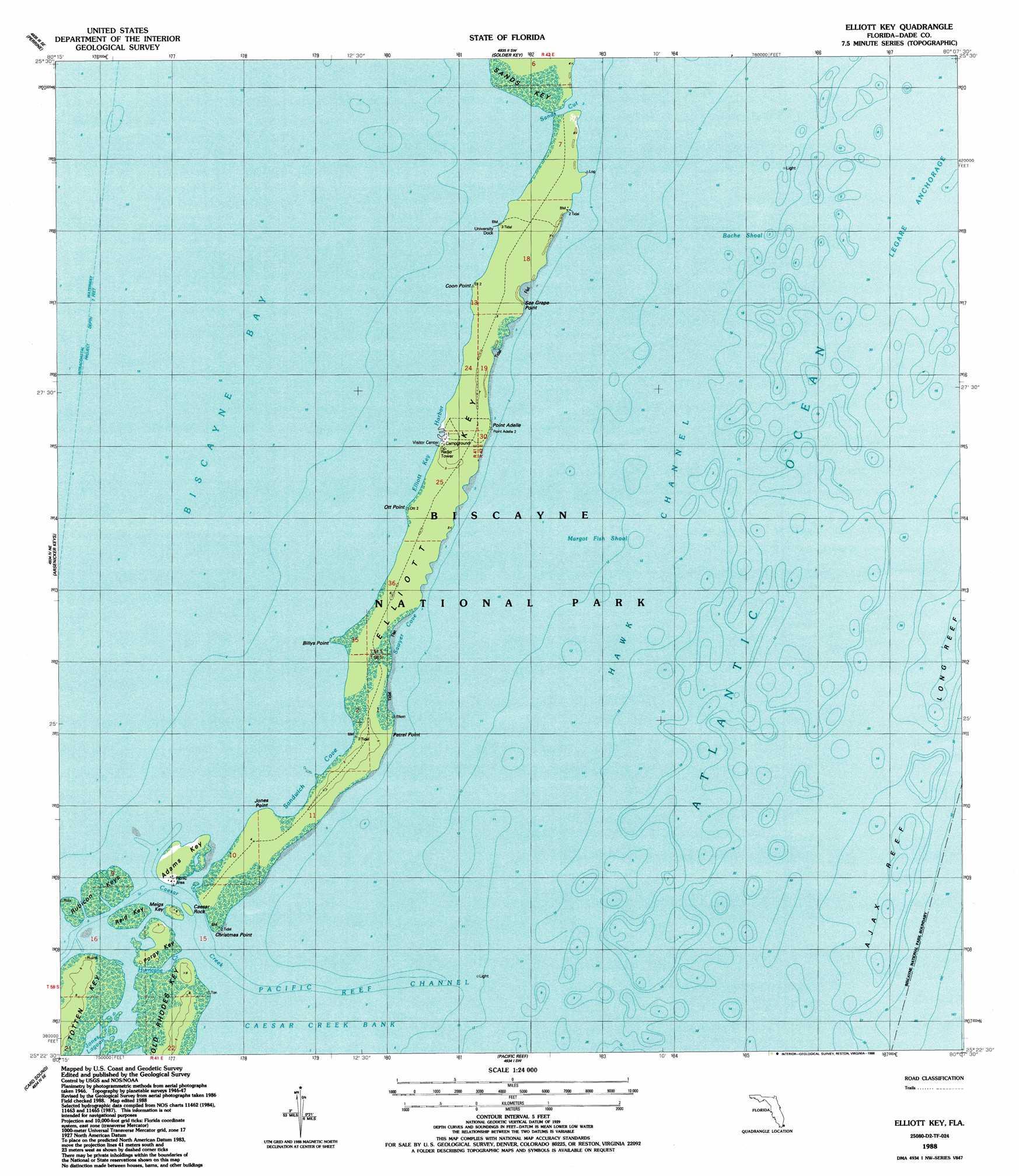 Elliott Key Topographic Map FL USGS Topo Quad D - Florida quad map