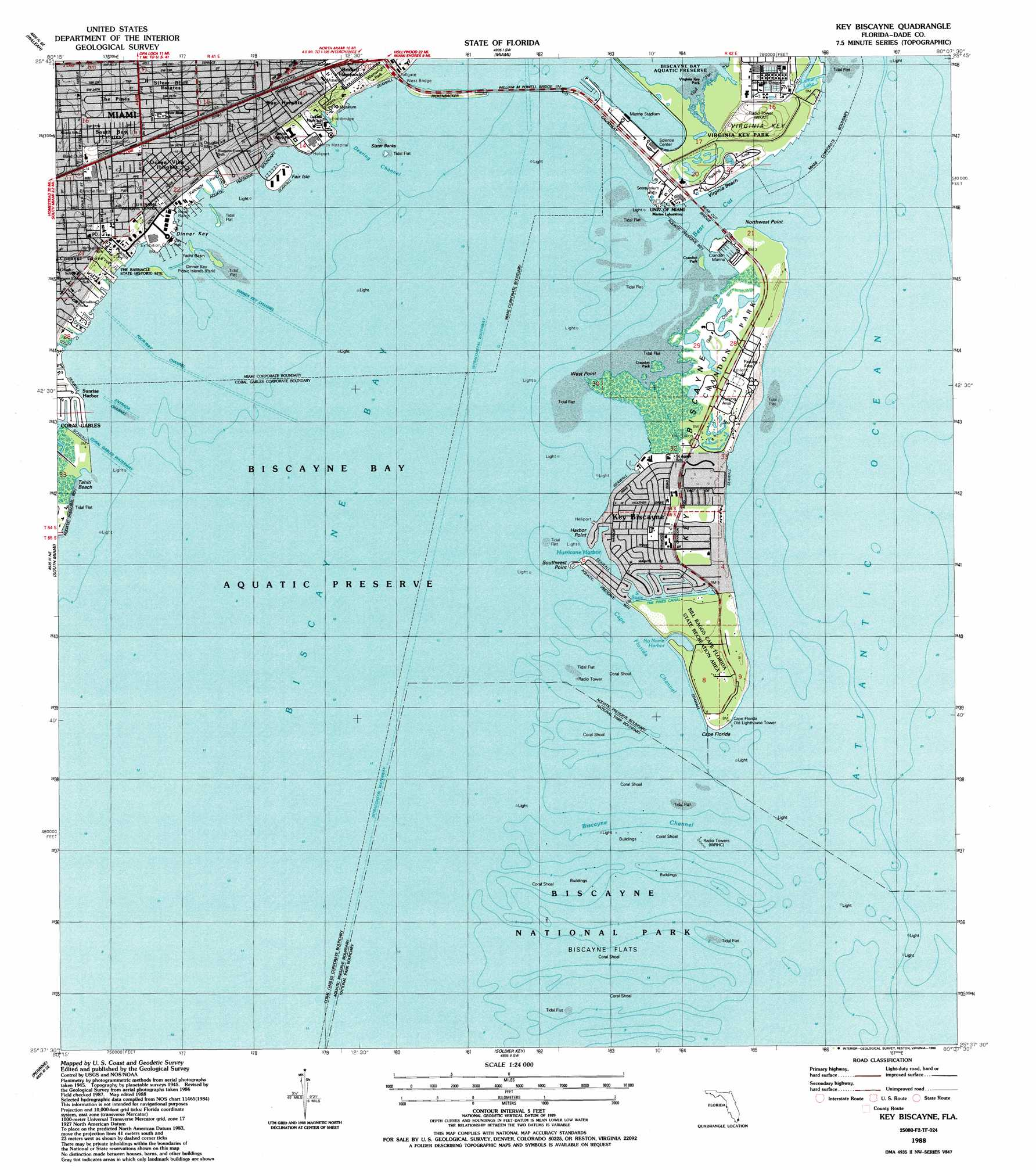 Key Biscayne topographic map FL USGS Topo Quad 25080f2