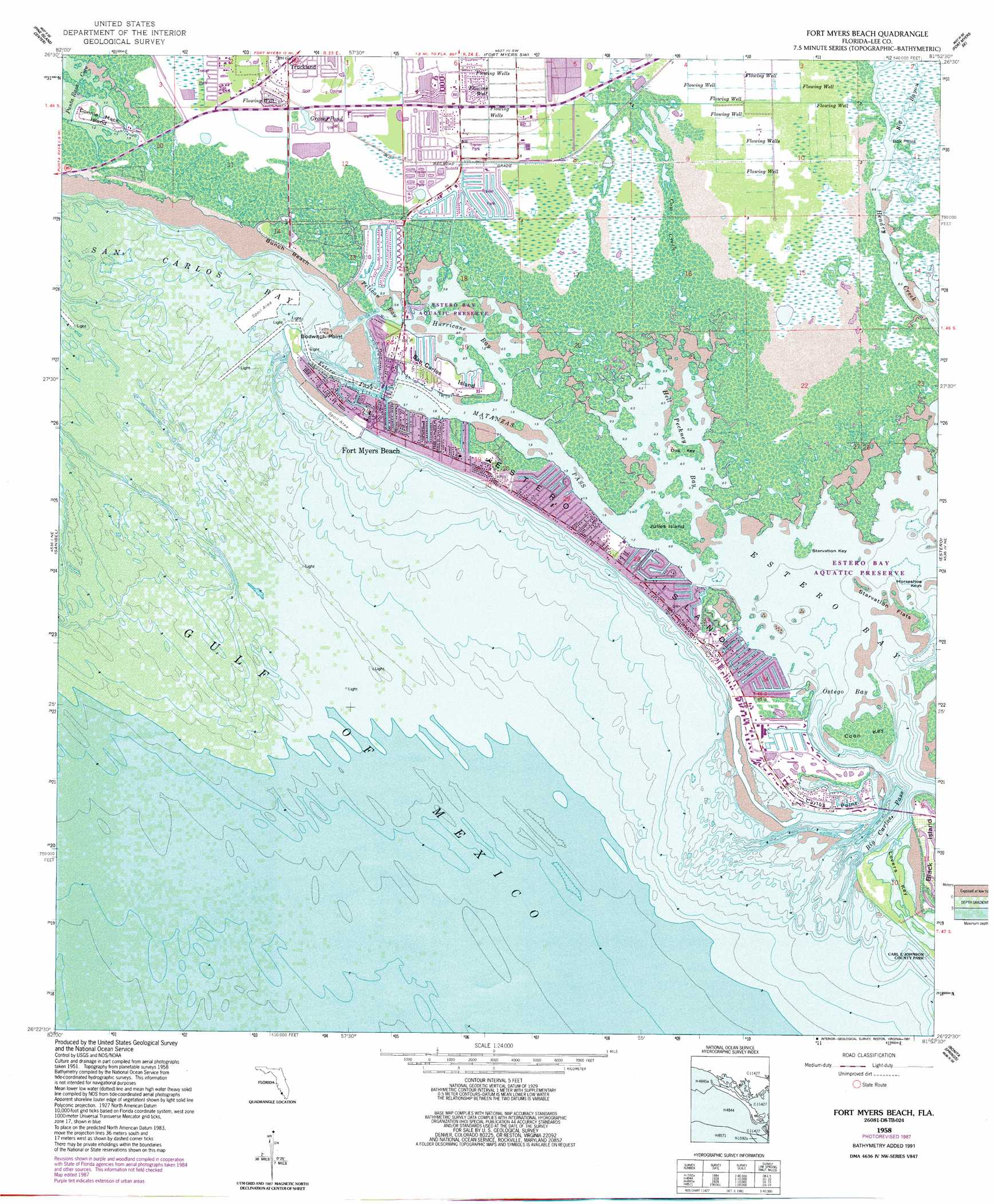 Fort Myers Beach Topographic Map FL USGS Topo Quad D - Florida topographic map