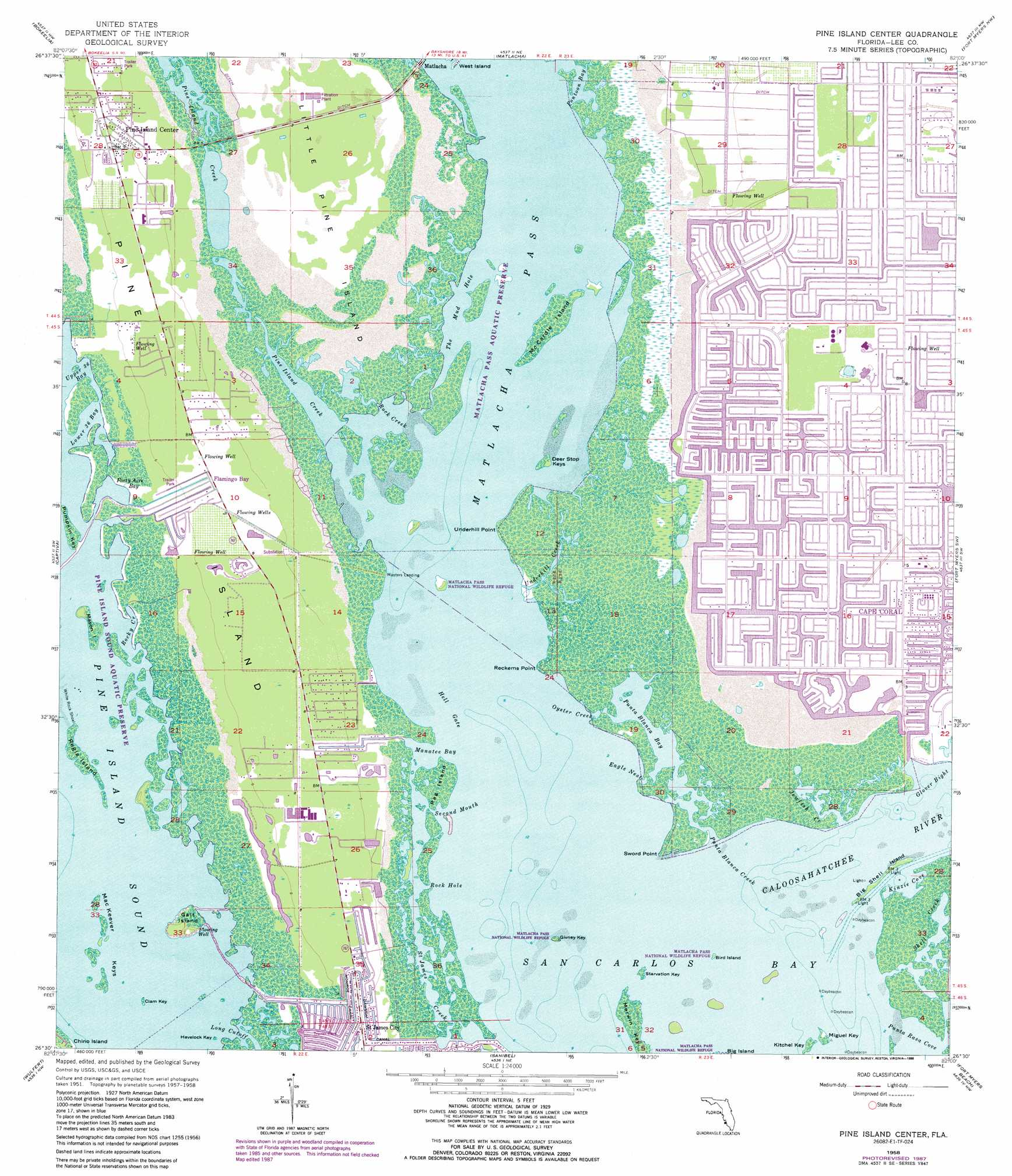 Pine Island Center topographic map, FL - USGS Topo Quad 26082e1