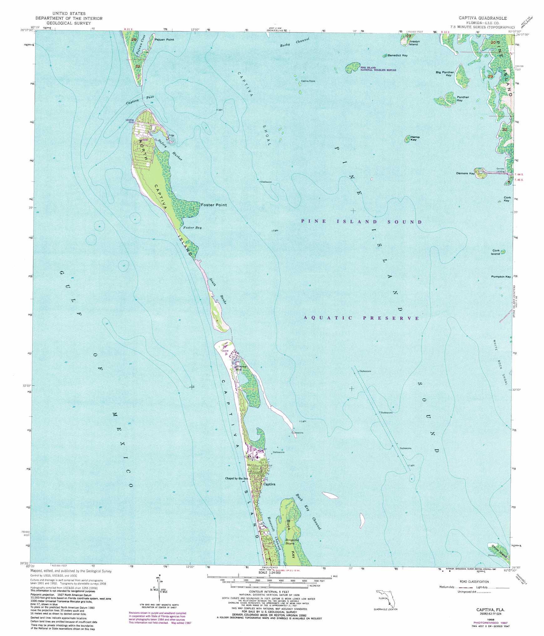 Captiva Topographic Map FL USGS Topo Quad E - Florida quad map