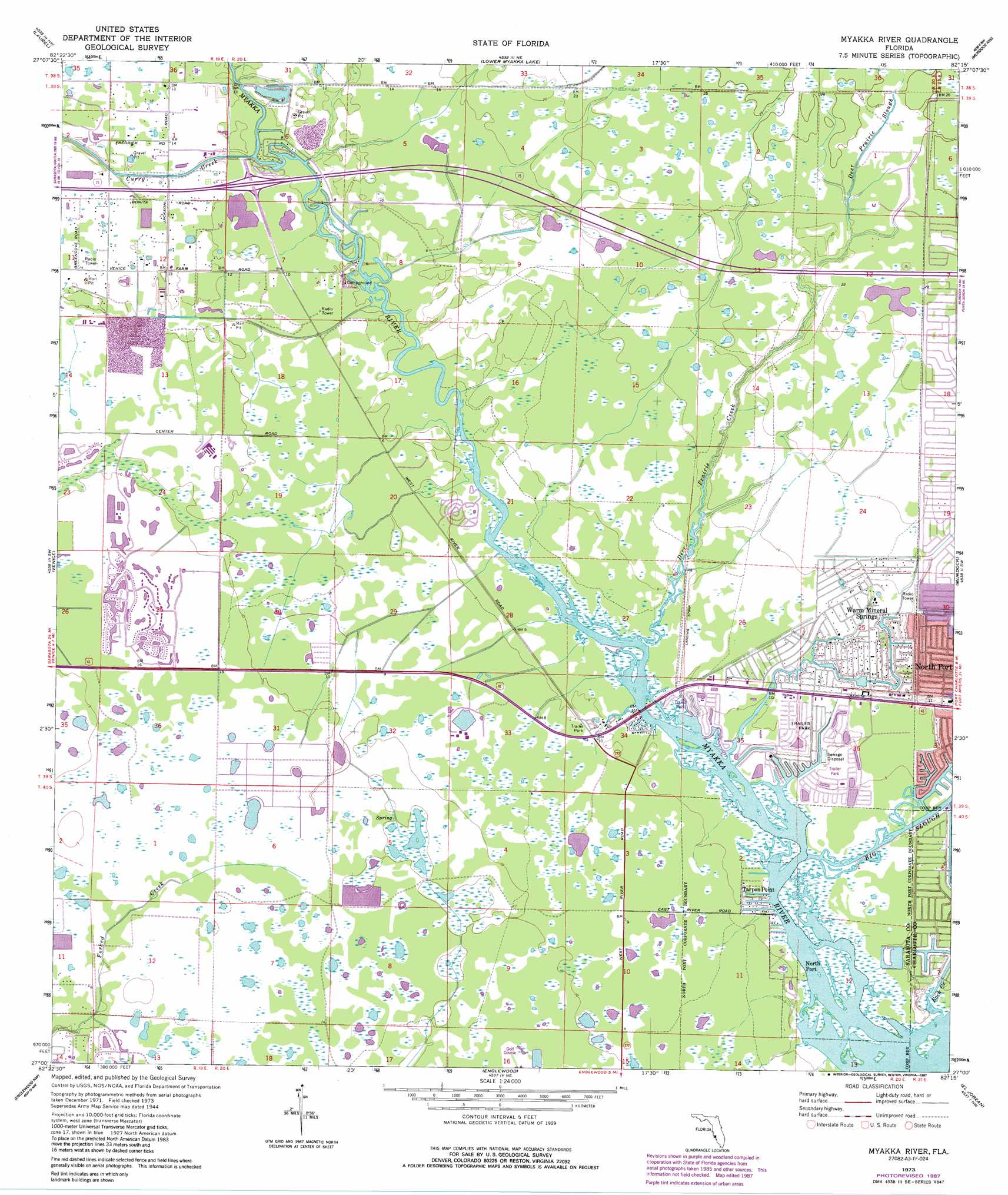 Topographic Map Of Florida.Myakka River Topographic Map Fl Usgs Topo Quad 27082a3
