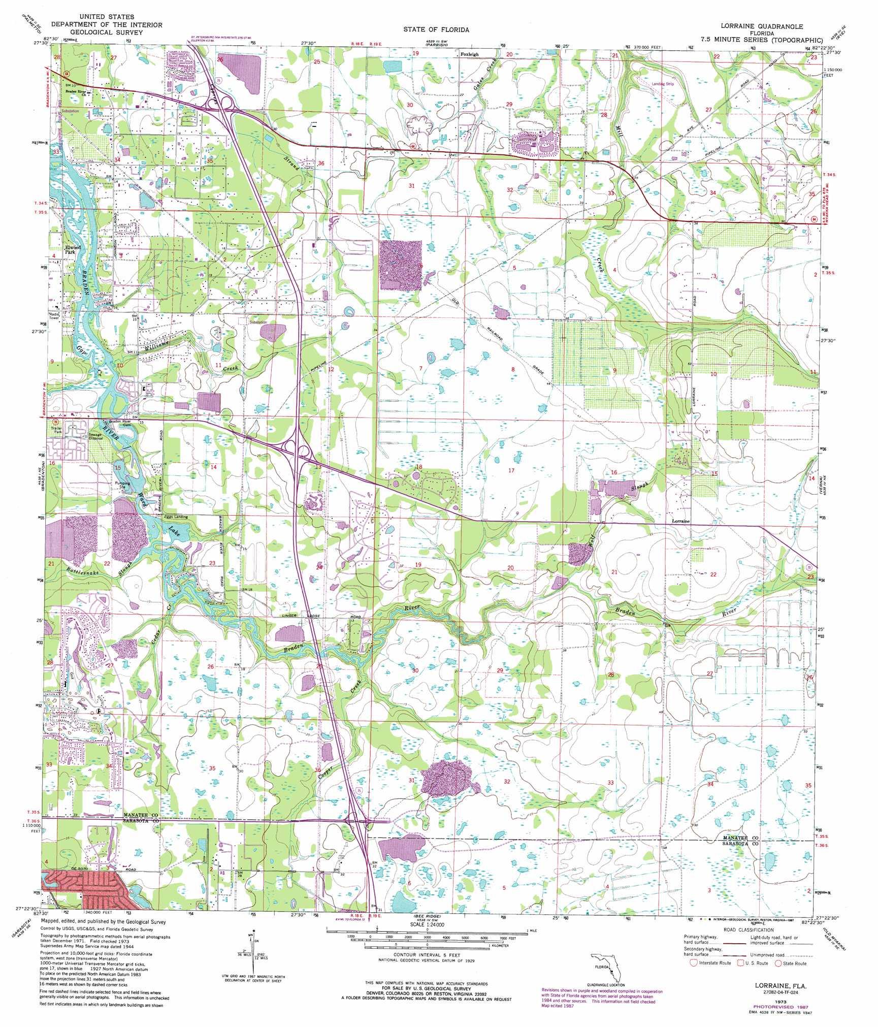 Topographical Map Of Florida.Lorraine Topographic Map Fl Usgs Topo Quad 27082d4